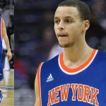 Steph Curry in Kristaps Porzingis jersey actual size featured