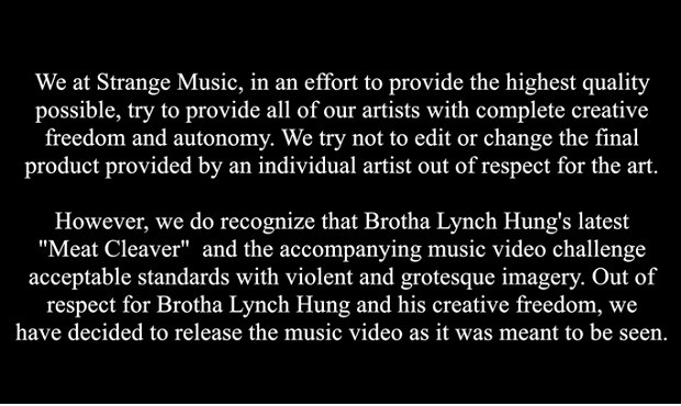 Brotha Lynch Hung disclaimer