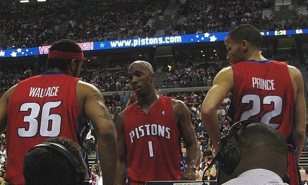 Chauncey Billups with Rasheed Wallace, Tayshaun Prince