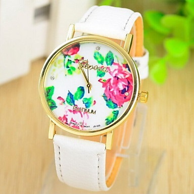 women's white band watch floral face