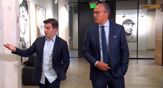 rian Chesky shows Lester Holt around the San Francisco Airbnb offices
