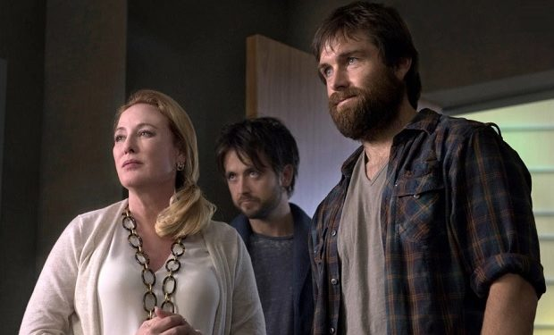 "Virginia Madsen (left), Justin Chatwin and Antony Starr in ""American Gothic."" Photo: Christos Kalohoridis/CBS"