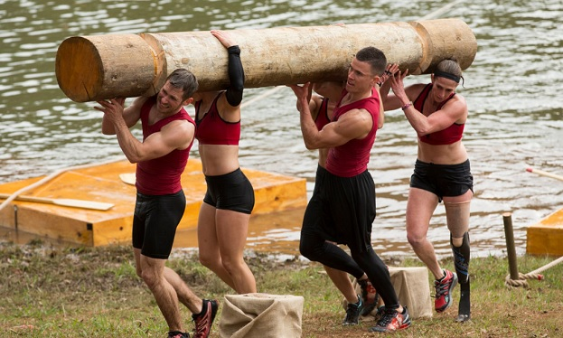 "L to R: Spartan: Michael ""Mitch"" Pajcic, Chris Johnson, Amy Winters on Ultimate Team Challenge, photo: Mark Hill/NBC"