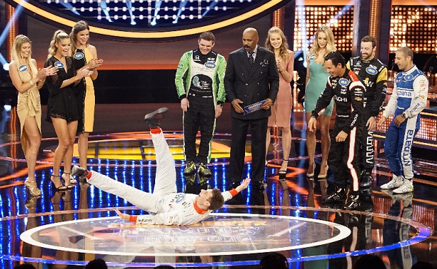 """CELEBRITY FAMILY FEUD - """"Bachelors vs Bachelorettes and Indy Car Drivers vs Sports Illustrated Models"""" - The celebrity teams competing against each other to win cash for their charities feature participants from ABC's hit reality television shows, """"The Bachelor"""" and """"The Bachelorette."""" In a separate game, the Sports Illustrated swimsuit models rival the Verizon IndyCar drivers. This episode of """"Celebrity Family Feud"""" airs SUNDAY, JULY 31 (8:00-9:00 p.m. EDT), on the ABC Television Network. (ABC/Kelsey McNeal) SAMANTHA HOOPES, NINA AGDAL, ROBYN LAWLEY, WILL POWER, CONOR DALY, STEVE HARVEY, TANYA MITYUSHINA, HANNAH FERGUSON, HELIO CASTRONEVES, JAMES """"HINCH"""" HINCHCLIFFE, TONY """"TK"""" KANAAN"""