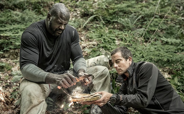 Shaquille O'Neal, left, and Bear Grylls. Credit Ben Simms/NBC