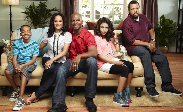 The cast of Are We There Yet? (from left to right), Coy Stewart as Kevin, Essence Atkins as Suzanne, Terry Crews as Nick, Teala Dunn as Lindsey and recurring cast member Ice Cube as Terrence. Fair Use