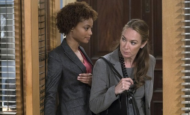 "LAW & ORDER: SPECIAL VICTIMS UNIT -- ""Criminal Pathology"" Episode 17003 -- Pictured: (l-r) Lauren Noble as Carmen, Elizabeth Marvel as Rita Calhoun -- (Photo by: Michael Parmelee/NBC)"