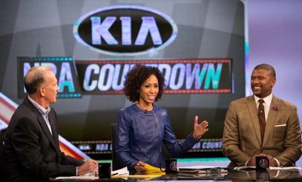 Los Angeles, CA - November 24, 2013 - LA Studio: Jalen Rose, Doug Collins and Sage Steele on the set of NBA Countdown (Photo by Eddie Perlas / ESPN Images)