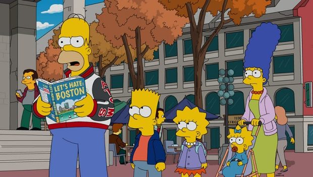 """THE SIMPSONS: After Homer catches Bart rooting for Springfield's football rival, the Boston Americans, he plans a family """"hate-cation"""" trip to Boston in an attempt to show Bart that Boston is a terrible city on the all-new """"The Town"""" episode airing Sunday, Oct 9, (8:00-8:30 PM ET/PT). THE SIMPSONS ™ and  © 2016 TCFFC ALL RIGHTS RESERVED.  CR:FOX."""
