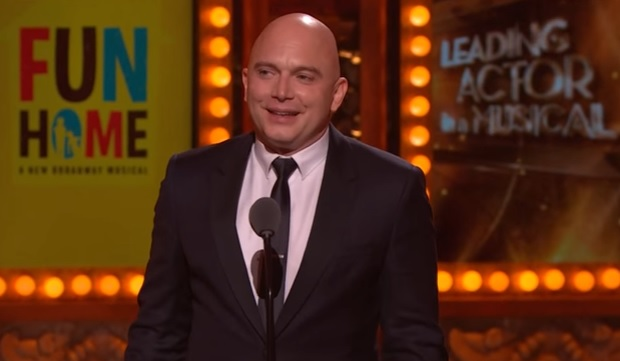 Michael Cerveris of Fun Home accepting a Tony Award for Leading Actor in a Musical during the 2015 Tony ceremony.