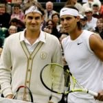Federer and Nadal before the start of the 2008 Wimbledon final