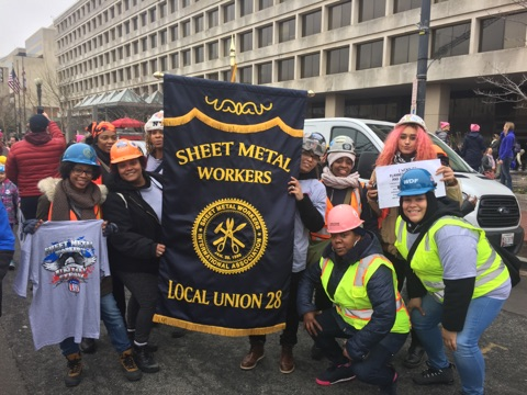 Sheet Metal Workers Union Local 28 march Against Trump