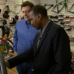 rom left: Istvan Varjas, a scientist and former cyclist, and 60 Minutes correspondent Bill Whitaker CBS NEWS