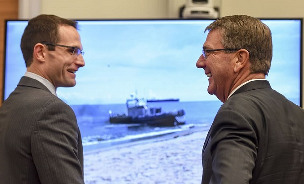 Dr. Will Roper with Sec. of Defense Ash Carter (Photo by: Brigitte N. Brantley, DOD)