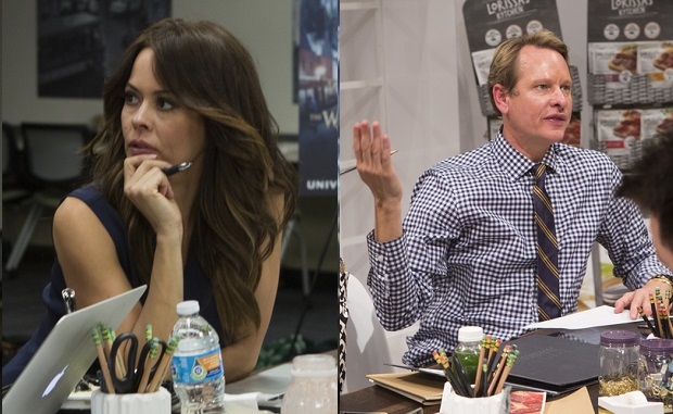 "THE NEW CELEBRITY APPRENTICE -- ""Scissors And Some Creativity"" Episode 1508 -- Pictured: (l-r) Matt Iseman, Brooke Burke-Charvet, Ricky Williams -- (Photo by: Luis Trinh/NBC)"