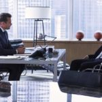 Gabriel Macht as Harvey Specter, Scott Lawrence as James Palmer -- (Photo by: Shane Mahood/USA Network)