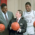 11/12/1984 President Reagan Patrick Ewing and John Thompson during a photo Op for the cover of Sports Illustrated in the Map Room