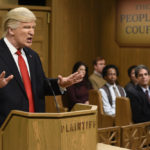 "SATURDAY NIGHT LIVE -- ""Alec Baldwin"" Episode 1718 -- Pictured: Host Alec Baldwin as President Donald Trump during the ""Trump People's Court"" sketch on February 11, 2017 -- (Photo by: Will Heath/NBC)"