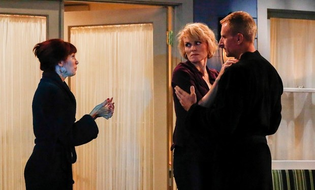 Carrie Preston as Martina, Stephnie Weir as Ann, Brian Unger as John -- (Photo by: Vivian Zink/NBC).
