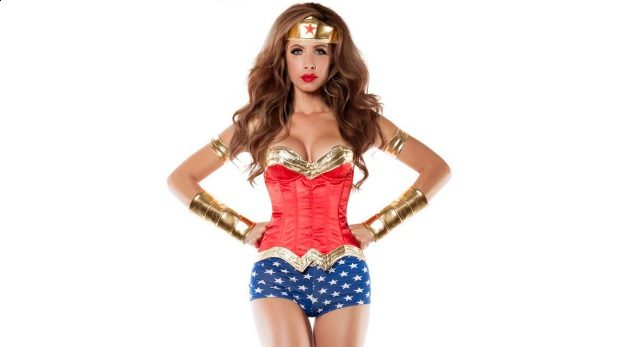 WOMEN'S CORSETED WONDER LADY COSTUME, HalloweenCostumes.com