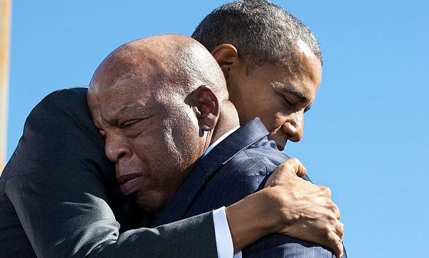 Barack Obama hugs John Lewis