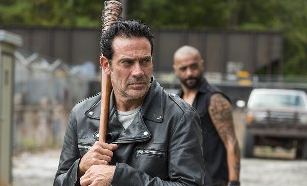 Jeffrey Dean Morgan as Negan, Vince Pusani as Savior - The Walking Dead _ Season 7, Episode 11 - Photo Credit: Gene Page/AMC