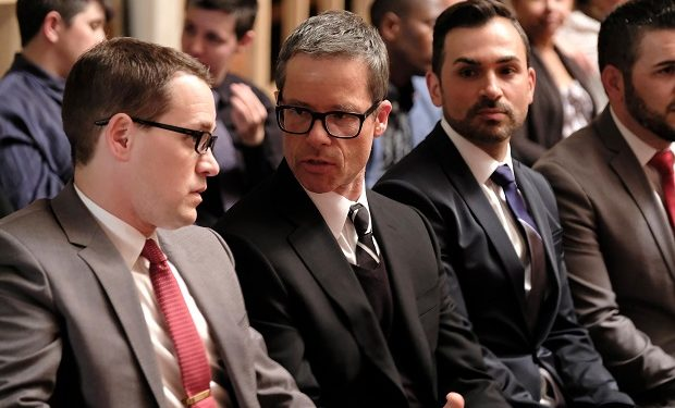 WHEN WE RISE Mini-Series 2017 Pictured: T.R. KNIGHT, GUY PEARCE EIKE SCHROTER/ABC