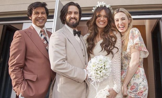 (l-r) Milo Ventimiglia as Jack Pearson, Mandy Moore as Rebecca Pearson, Wynn Everett as Shelly -- (Photo by: Ron Batzdorff/NBC)