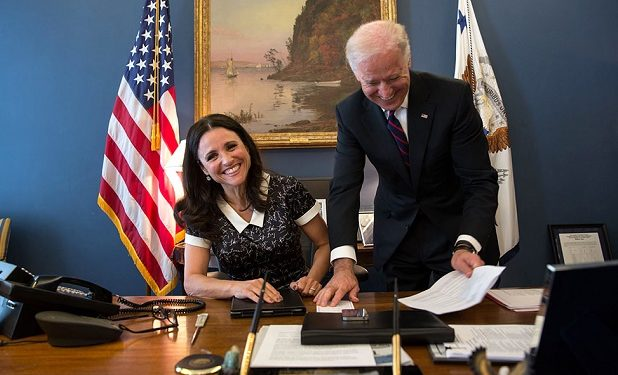 Joe Biden and Julia Louis-Dreyfuss Public Domain