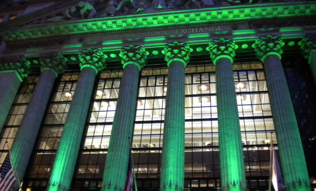 NY Stock Exchange in Green light