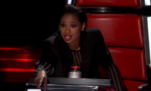 JHud pointing to stage The Voice NBC