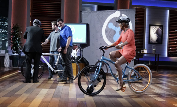 GeoOrbital electric bike wheel on Shark Tank Barbara Corcoran kevin OLeary