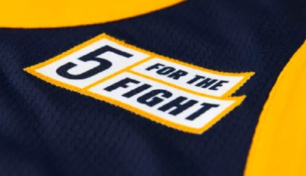 What  5 For The Fight  Patch On Utah Jazz NBA Uniform Jerseys Is About 7d2b89c61