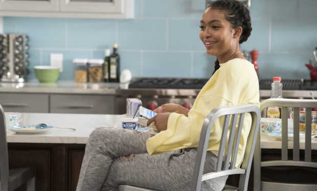 "BLACK-ISH - ""First and Last"" - Diane experiences a big life event toward becoming a woman and Bow, Ruby, Zoey and Alicia are there to support her. Meanwhile, afraid that he may never be able to beat Junior at basketball again, Dre conducts psychological warfare on Junior before challenging him to a game, on ""black-ish,"" TUESDAY, NOV. 7 (9:00-9:30 p.m. EST), on The ABC Television Network. (ABC/Eric McCandless) YARA SHAHIDI"