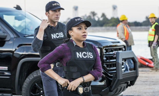 L-R: Lucas Black as Special Agent Christopher LaSalle and Shalita Grant as Sonja Percy Photo: Skip Bolen/CBS