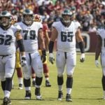 """Small"" Jason Kelce (#62), Brandon Brooks (#69), Lane Johnson (#65), Torrey Smith (#82) (photo by Keith Allison via Wikimedia Commons)"