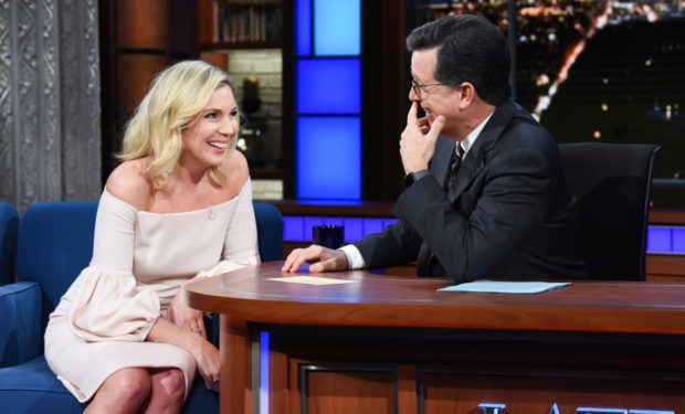 The Late Show with Stephen Colbert and guest June Diane Raphael during Tuesday's February 6, 2018 show. Photo: Scott Kowalchyk/CBS ©2018 CBS Broadcasting Inc. All Rights Reserved.
