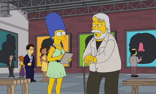 Pictured: Marge and guest voice John Baldessari as Himself. THE SIMPSONS ™ and © 2017 TCFFC ALL RIGHTS RESERVED.