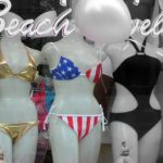Bikinis under $150 in a shop window, online deals on bikinis abound