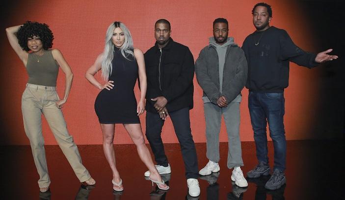 88c1131492f Kim Kardashian Wears High Heel Thong Sandals on  Celebrity Family Feud