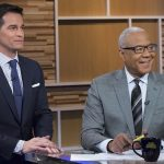 "GOOD MORNING AMERICA: WEEKEND EDITION - Dan Harris, Paula Faris, Ron Claiborne, Rob Marciano and Adrienne Bankert host ""Good Morning America: Weekend Edition,"" on the ABC Television Network. (ABC/Heidi Gutman) ROB MARCIANO, RON CLAIBORNE"