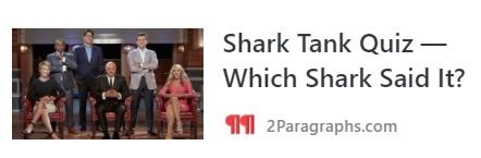 SHARK TANK QUIZ