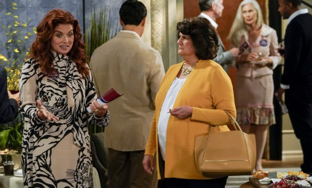 "WILL & GRACE -- ""The West Side Curmudgeon"" Episode 203 -- Pictured: (l-r) Debra Messing as Grace Adler, Livia Treviño as Mrs. Timmer"