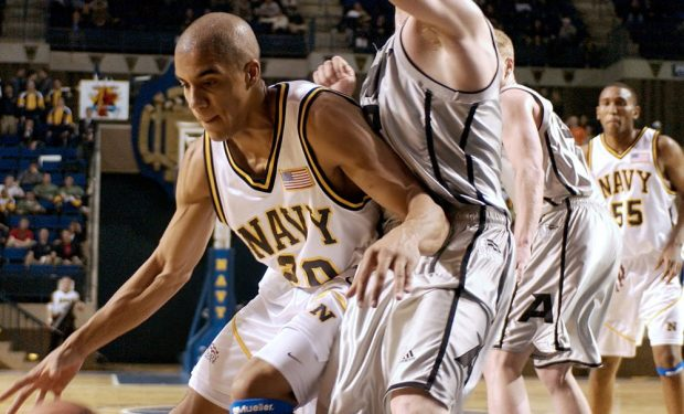 NCAA Basketball_game photo U.S. Navy photo by Photographer's Mate 2nd Class Damon J. Moritz [Public domain]
