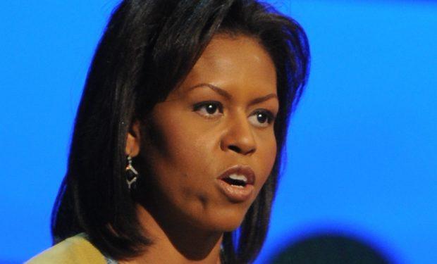 Michelle Obama addresses the crowd