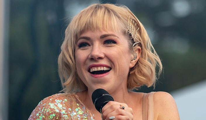 Carly Rae Jepsen Wears Chic Oversized Baby Blue Suit In Stockholm