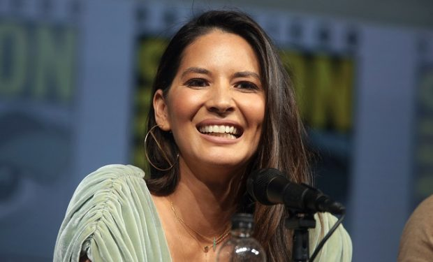 "Olivia Munn speaking at the 2018 San Diego Comic Con International, for ""The Predator"", at the San Diego Convention Center in San Diego, California."