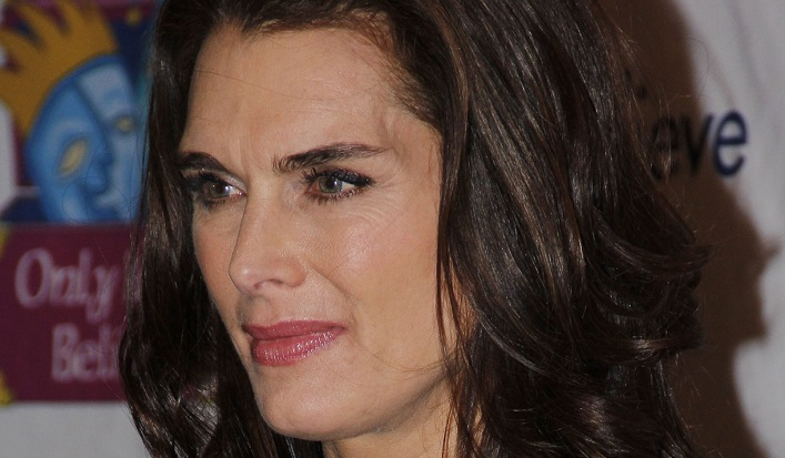Brooke Shields Shows Off Long Legs in Strapless White Swimsuit