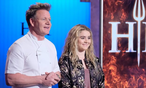 "HELL'S KITCHEN: (L-R) Host/chef Gordon Ramsay and Matilda Ramsay in the ""One Hell of a Party"" episode of HELL'S KITCHEN airing Friday, Dec. 7 (9:00-10:00 PM ET/PT) on FOX. © 2018 FOX Broadcasting. CR: FOX"