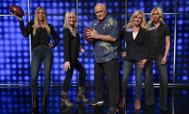 "CELEBRITY FAMILY FEUD -""Terry Bradshaw vs. Adam Rippon and Skai Jackson vs. Hudson Yang"" - Pittsburgh Steelers' Hall of Fame quarterback, two-time Super Bowl MVP and television personality Terry Bradshaw takes on Olympic figure skating medalist and champion of ""Dancing with the Stars: Athletes,"" Adam Rippon, as they compete to win cash for their charities. The next game of the night features Disney Channel star of ""BUNK'D"" and ""Jessie,"" Skai Jackson, looking to upset ABC's ""Fresh Off the Boat"" star Hudson Yang on a star-studded episode of ""Celebrity Family Feud,"" airing SUNDAY, SEPT. 15 (8:00-9:00 p.m. EDT), on ABC. (ABC/Byron Cohen) LACEY LUTTRULL, ERIN BRADSHAW, TERRY BRADSHAW, TAMMY BRADSHAW, RACHEL BRADSHAW"
